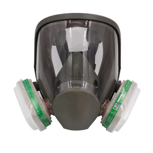 Silicone Full Face With Two Filter Chemical Safety Military Breathing Gas Mask